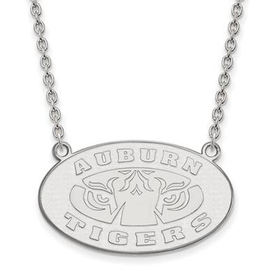 Auburn Tigers Sterling Silver Pendant Necklace | Logo Art | SS055AU-18