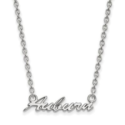 Auburn University Script Logo Sterling Silver Necklace | Logo Art | SS075AU-18