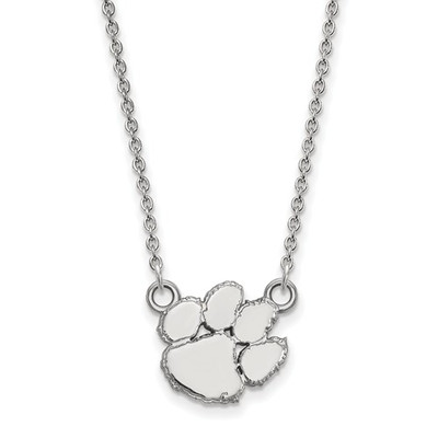 Clemson Tiger Paw Sterling Silver Pendant Necklace | Logo Art | SS015CU-18