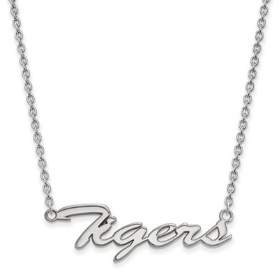 Clemson Tigers Script Logo Sterling Silver Necklace | Logo Art | SS043CU-18