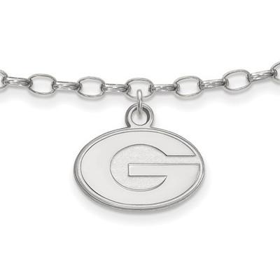 Georgia Bulldogs Sterling Silver Ankle Bracelet | Logo Art | SS030UGA