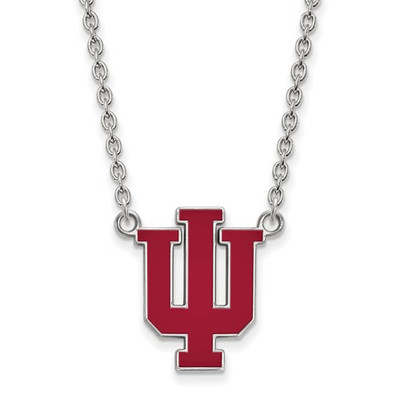 Indiana Hoosiers Enamel Sterling Silver Necklace | Logo Art | SS073IU-18