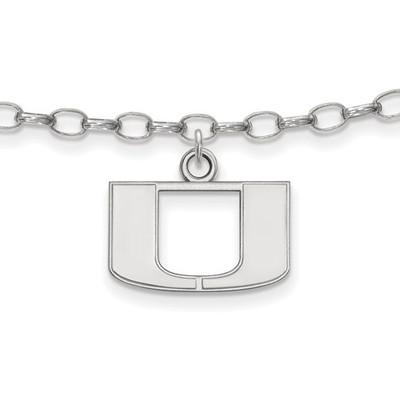 Miami U Hurricanes Sterling Silver Ankle Bracelet | Logo Art | SS030UMF