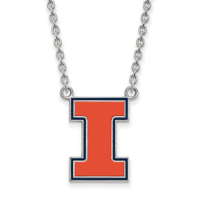 Illinois Fighting Illini I Orange Silver Necklace | Logo Art | SS074UIL-18