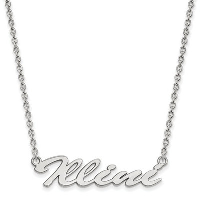Illinois Fighting Illini Script Sterling Silver Necklace | Logo Art | SS068UIL-18