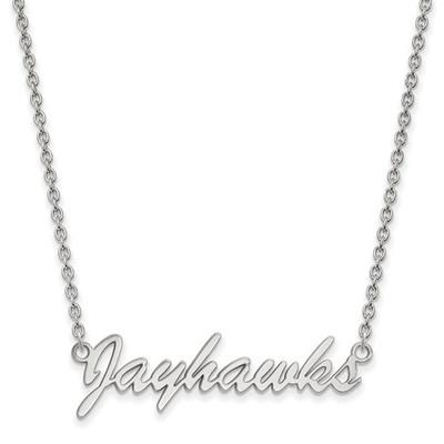 Kansas Jayhawks Script Sterling Silver Necklace | Logo Art | SS054UKS-18