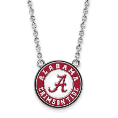 Alabama Crimson Tide Sterling Silver Enamel Necklace | Logo Art | SS092UAL-18