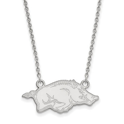 Arkansas Razorbacks Sterling Silver Pendant Necklace | Logo Art | SS014UAR-18