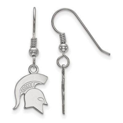 Michigan State Spartans Sterling Silver Dangle Earrings | Logo Art | SS049MIS