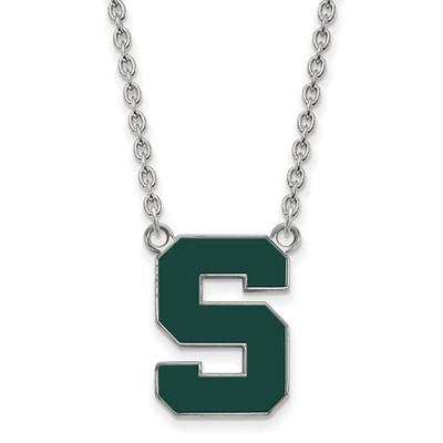 Michigan State Spartans S Logo Enamel Silver Necklace | Logo Art | SS073MIS-18