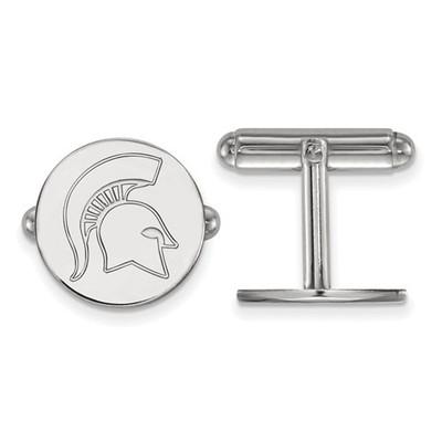 Michigan State Spartans Sterling Silver Cufflinks | Logo Art | SS053MIS