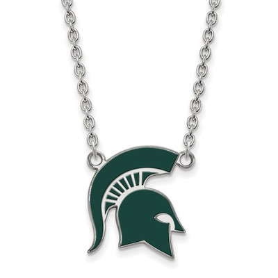 MSU Spartans Helmet Enamel and Silver Necklace | Logo Art | SS076MIS-18