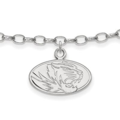 Missouri Tigers Sterling Silver Ankle Bracelet | Logo Art | SS030UMO