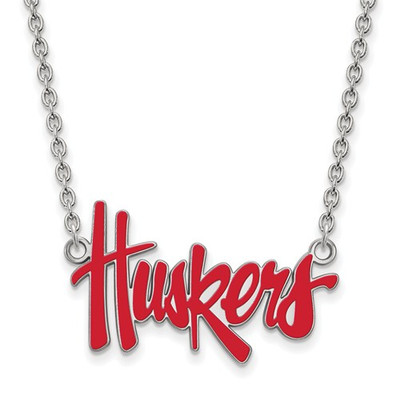 Nebraska Huskers Red Enamel Silver Necklace | Logo Art | SS094UNE-18