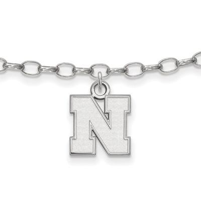 Nebraska Huskers Sterling Silver Ankle Bracelet | Logo Art | SS065UNE
