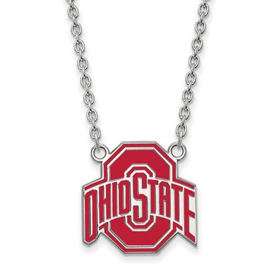 Ohio State Buckeyes Enamel Sterling Silver Necklace | Logo Art | SS087OSU-18