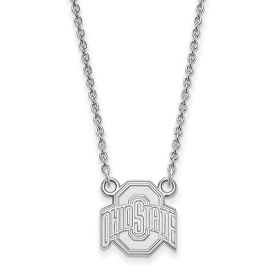 Ohio State Buckeyes Sterling Silver Pendant Necklace | Logo Art | SS015OSU-18
