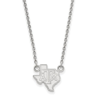 Texas A&M Aggies Sterling Silver Pendant Necklace | Logo Art | SS048TAM-18