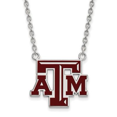 Texas A&M Aggies Enamel Silver Pendant Necklace | Logo Art | SS080TAM-18