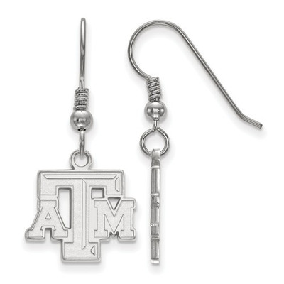 Texas A&M Letter Sterling Silver Dangle Earrings | Logo Art | SS007TAM
