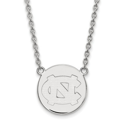 UNC Tar Heels Sterling Silver Circle Pendant Necklace | Logo Art | SS040UNC-18