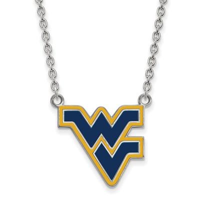 WV Mountaineers Sterling Silver Enamel Necklace | Logo Art | SS071WVU-18