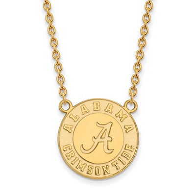 Alabama Crimson Tide 14K Gold Circle Pendant Necklace | Logo Art | 4Y055UAL-18