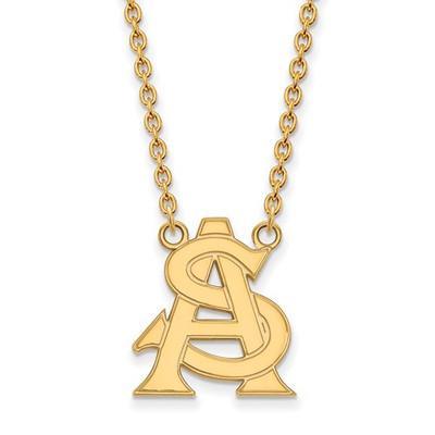 Arizona State AS Sun Devils 14K Gold Pendant Necklace | Logo Art | 4Y033AZS-18