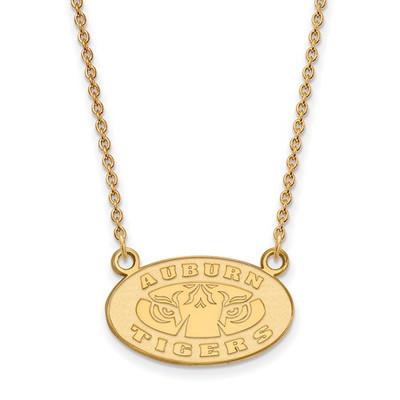 Auburn Tigers Oval Emblem 14K Gold Necklace | Logo Art | 4Y054AU-18