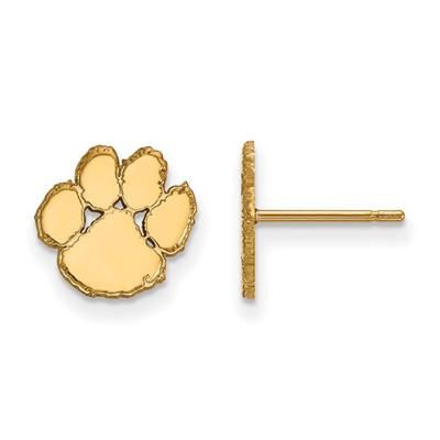 Clemson Tigers 14K Gold Tiger Paw Post Earrings | Logo Art | 4Y008CU