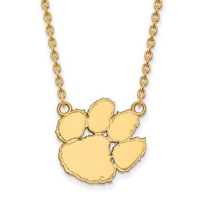 Clemson Tigers 14K Gold Tiger Paw Pendant Necklace | Logo Art | 4Y016CU-18