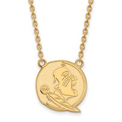FSU Seminoles Mascot 14K Gold Pendant Necklace | Logo Art | 4Y055FSU-18