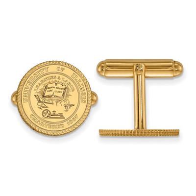 Illinois School Crest 14K Gold Fighting Illini Cufflinks | Logo Art | 4Y067UIL