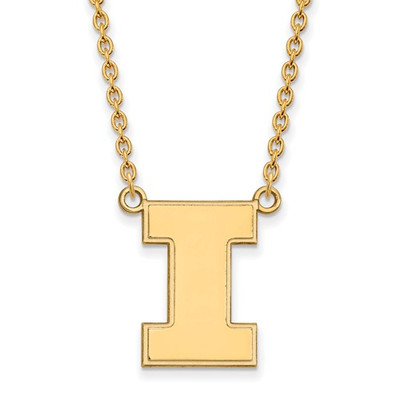 Illinois Fighting Illini I Logo 14K Gold Pendant Necklace | Logo Art | 4Y016UIL-18