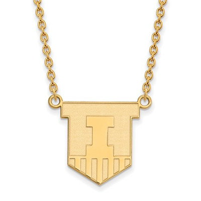 Illinois Fighting Illini Shield 14K Gold Pendant Necklace | Logo Art | 4Y055UIL-18
