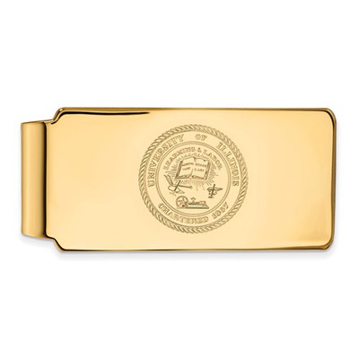 Illinois School Crest 14K Gold Illini Money Clip | Logo Art | 4Y070UIL