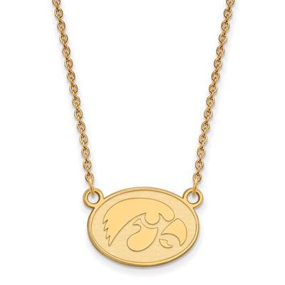 Iowa Hawkeyes 14K Gold Oval Pendant Necklace | Logo Art | 4Y056UIA-18