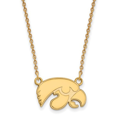Iowa Hawkeyes Mascot 14K Gold Pendant Necklace | Logo Art | 4Y015UIA-18