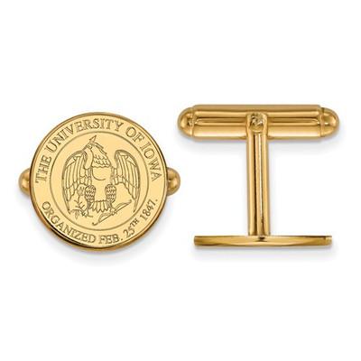 Iowa Hawkeyes School Crest 14K Gold Cufflinks | Logo Art | 4Y081UIA