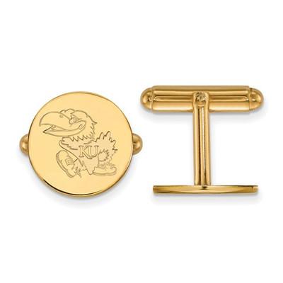 Kansas Jayhawks KU Mascot 14K Gold Cufflinks | Logo Art | 4Y073UKS