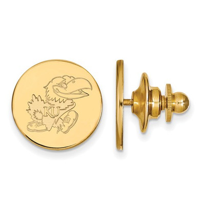 Kansas Jayhawks KU Mascot 14K Gold Lapel Pin | Logo Art | 4Y059UKS