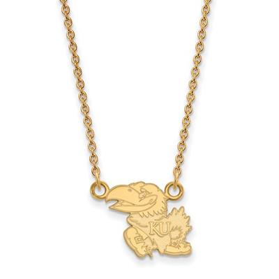 Kansas Jayhawks KU Mascot 14K Gold Necklace | Logo Art | 4Y011UKS-18