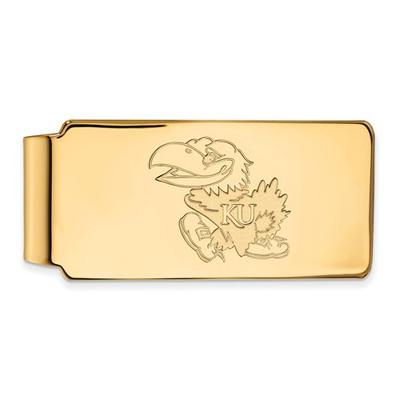 Kansas Jayhawks KU Mascot 14K Gold Money Clip | Logo Art | 4Y021UKS