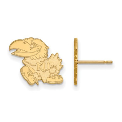 Kansas Jayhawks KU Mascot 14K Gold Post Earrings | Logo Art | 4Y009UKS