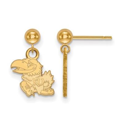 Kansas Jayhawks KU Mascot 14K Gold Dangle Earrings | Logo Art | 4Y010UKS