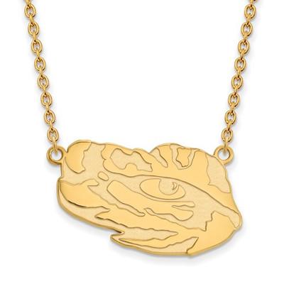 LSU Tigers Tiger Eye 14K Gold Pendant Necklace | Logo Art | 4Y070LSU-18