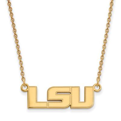 LSU Tigers 14K Gold Pendant Necklace | Logo Art | 4Y009LSU-18
