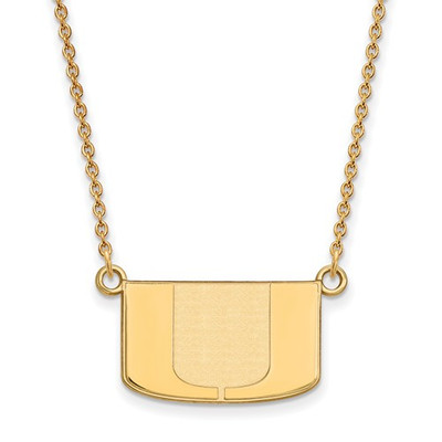 Miami Hurricanes U Logo 14K Gold Pendant Necklace | Logo Art | 4Y015UMF-18