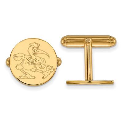 Miami Hurricanes Mascot 14K Gold Cufflinks | Logo Art | 4Y053UMF