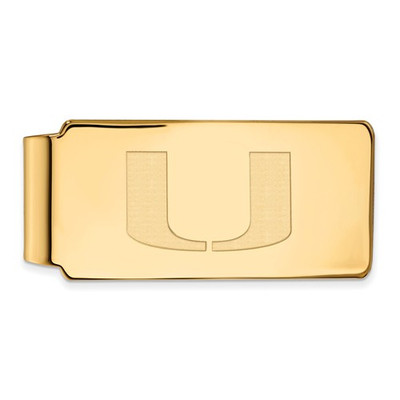 Miami Hurricanes U Logo 14K Gold Money Clip | Logo Art | 4Y025UMF